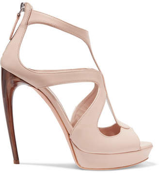Alexander McQueen Leather Platform Sandals - Beige