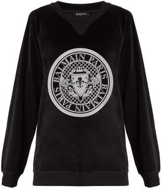 Balmain Printed-crest cotton-velvet sweatshirt