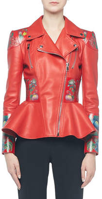 Alexander McQueen Flower-Print Leather Moto Jacket