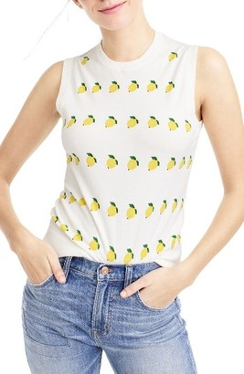 Women's J.crew Jackie Lemon Print Cotton Blend Shell $59.50 thestylecure.com