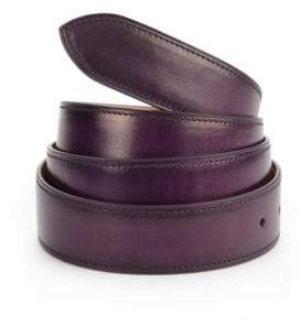 Corthay Aubergine Patina Leather Belt