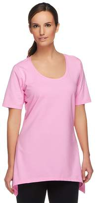 Denim & Co. Perfect Jersey Short Sleeve Scoop Neck Trapeze Top