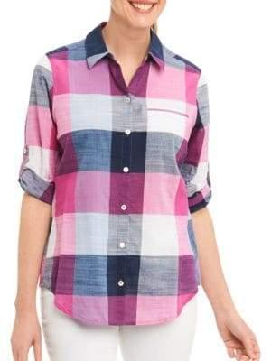 Foxcroft Petite Plaid Checks Shirt