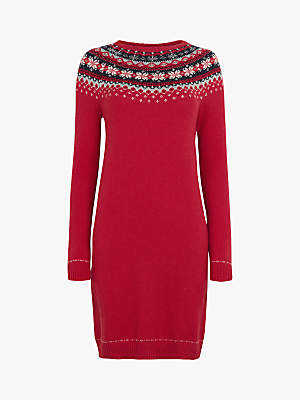 Fat Face Fair Isle Yoke Knitted Dress, Cranberry