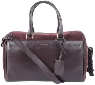 Saint Laurent Duffle Burgundy Suede Handbag