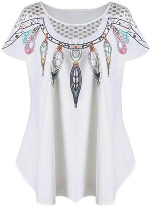 Change_shirts Shirt, Women's Hollow Short-Sleeved Feather Print Top Changeshopping (XXL, )