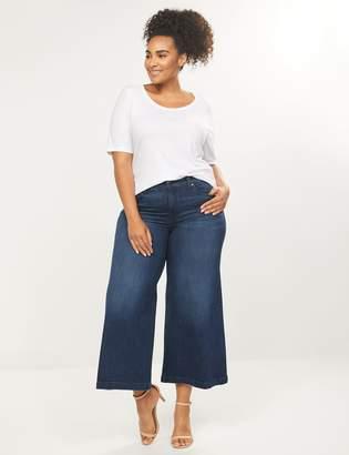 Lane Bryant Wide Leg Mid Rise Crop Jean - Dark Wash
