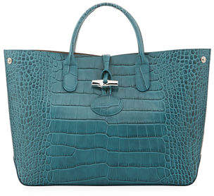 Longchamp Roseau Medium Croc-Embossed Leather Tote Bag