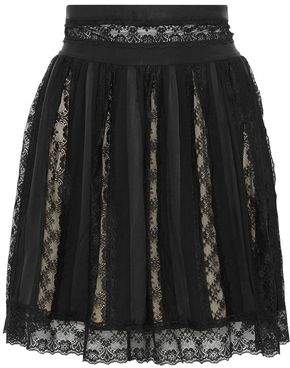 Pierre Balmain Paneled Lace Washed-Satin And Crepe Mini Skirt