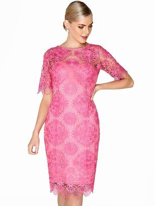 Paper Dolls Crochet Detail Lace Dress - Hot Pink