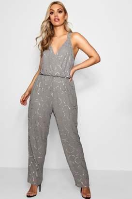 boohoo Plus Boutique Sequin Embellished Jumpsuit