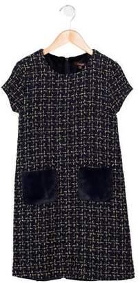 Imoga Girls' Metallic-Accented Tweed Dress