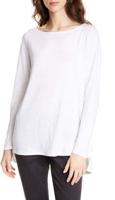 Eileen Fisher Drop Tail Hem Organic Linen Tunic
