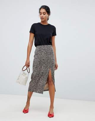 Oasis side split midi skirt in animal print