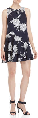 Vince Camuto Navy Floral Ruffled Mini Dress