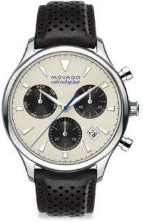 Movado Heritage Calendoplan Stainless Steel& Leather Strap Watch - Beige Dial