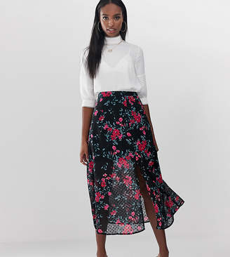 7e1dac91d03c0 Fashion Union Tall midi skirt with split in dobby floral