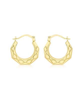 Fashion World 9Ct Gold Patterned Creole Earrings