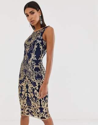 Goddiva high neck midi embellished sequin dress in navy