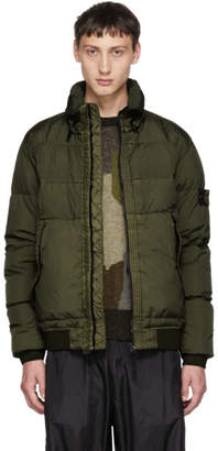 Stone Island Green Down Bomber Jacket