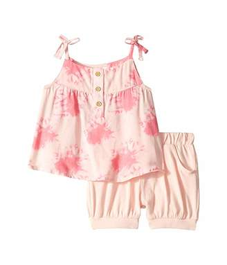 BCBGMAXAZRIA Girls Woven Print Top Knit Ballon Shorts Set (Infant)