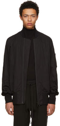 Nude:mm Black Cotton and Linen Bomber Jacket