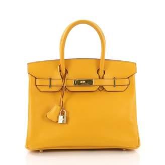 Hermes Birkin 30 Yellow Leather Handbag