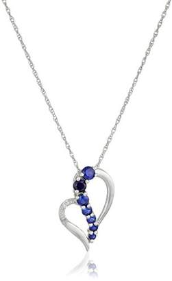 Sterling Created Emerald and Diamond Accent Heart Journey Pendant Necklace