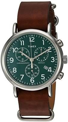 Timex Unisex TW2P97400 Weekender Chrono Brown Leather Slip-Thru Strap Watch