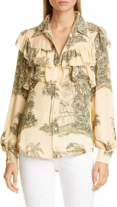 Johanna Ortiz Toile Palm Print Ruffle Silk Georgette Blouse