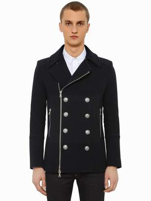 Balmain Double Breasted Wool Blend Peacoat
