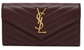 Saint Laurent Monogram Quilted Pebbled Leather Wallet - Womens - Burgundy