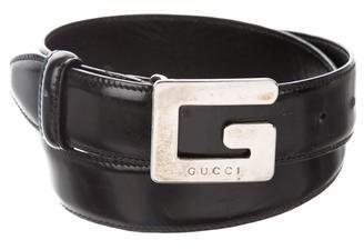 Gucci Silver-Tone Buckle Leather Belt