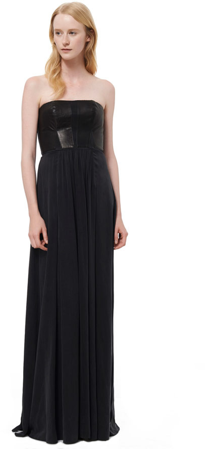 Rebecca Taylor Strapless Leather Paneled Maxi Dress
