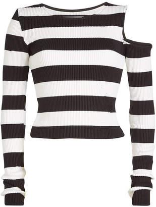 Amiri Striped Cotton Top with Cashmere