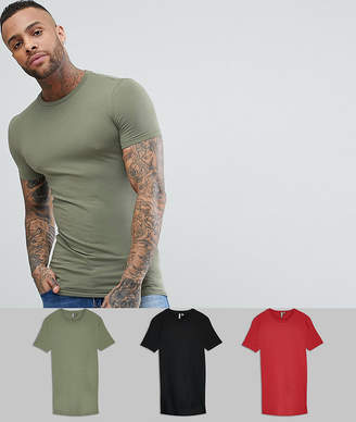 Asos Design Longline Muscle Fit T-Shirt With Crew Neck 3 Pack Save