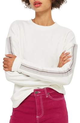 Topshop Taped Sleeve Sweatshirt