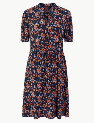 Marks and Spencer Floral Print Waisted Mini Dress