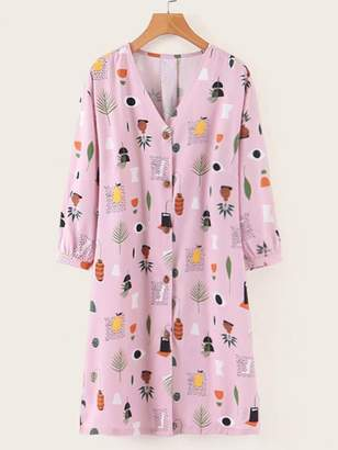 Shein Geo And Botanical Print Button Front Dress
