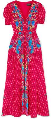 6e61a0dafc6 Saloni Lea Printed Silk Crepe De Chine Midi Dress - Red