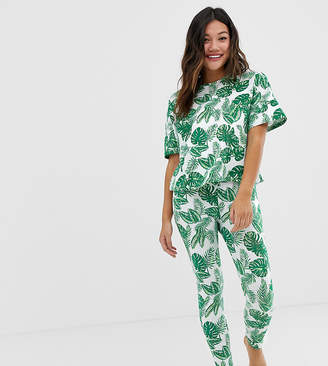 Asos Design DESIGN palm print pyjama legging set
