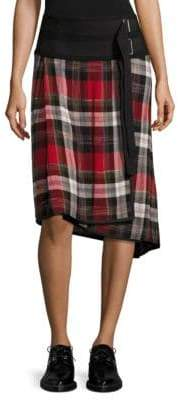 Public School Ilha Plaid Wrap Skirt