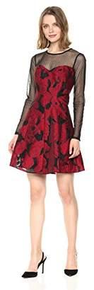 GUESS Women's Red Floral Jacqard Dress