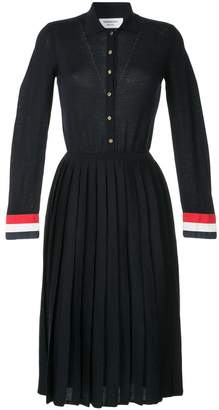 Thom Browne pleated knitted shirt dress