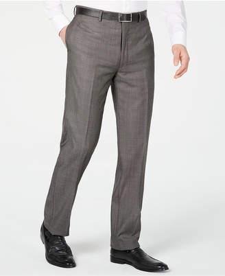 Calvin Klein Men X Slim-Fit Stretch Charcoal Mini Grid Suit Pants