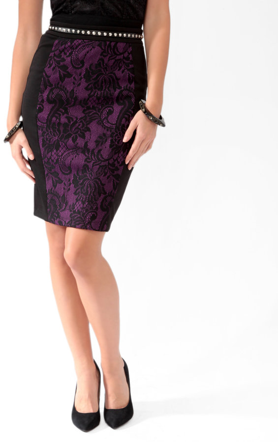 FOREVER 21 Lace Panel Pencil Skirt