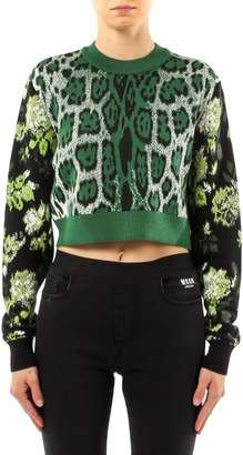 MSGM Resort Mixed-Print Cropped Sweater