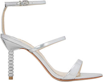 Sophia Webster Rosalind Triple Strap Crystal Heel Silver Sandals