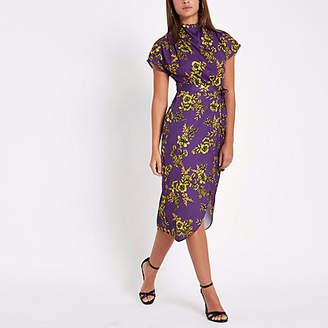 River Island Purple floral print tie waist midi dress