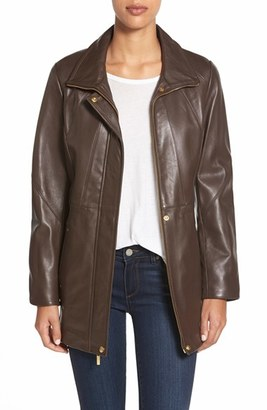 Women's Ellen Tracy Zip Front Leather Coat $598 thestylecure.com